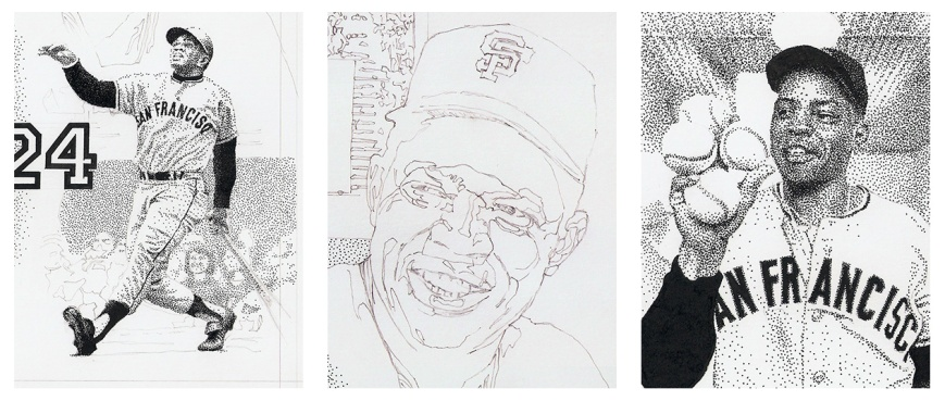 Details of the Willie Mays Jr. portrait work-in-progress