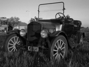 Model T at Sunset - BW
